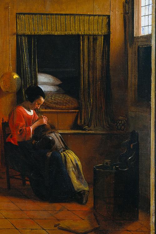 luizenmoeder verwijdert hoofdluis bij kind in 1660
